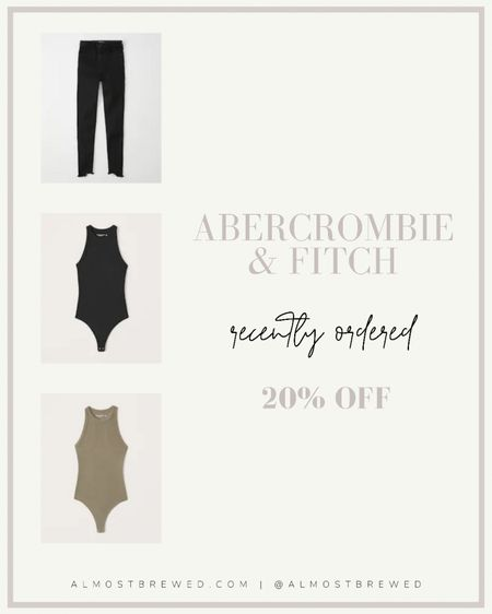 Abercrombie & Fitch favourites all on sale! High waisted super skinny jeans with buttons, cardigan, bodysuit, ribbed bodysuit, high waisted mom jean shorts, summer bow dress, scuba #ltkday  #LTKunder100 #LTKstyletip #LTKunder50