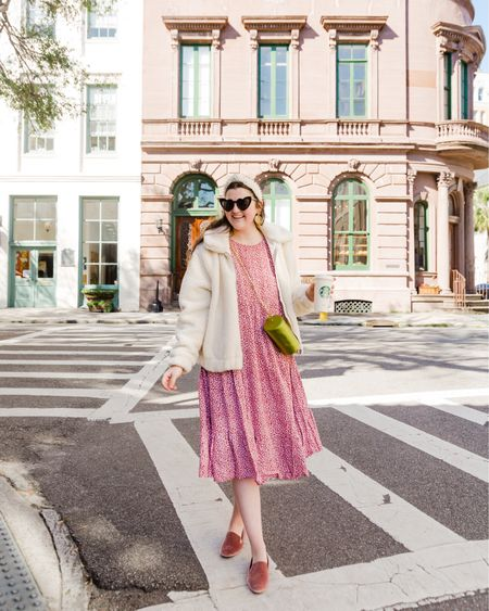 Casual outfit, pink midi dress from ASOS, floral dress, dusty rose birdies flats, comfy shoes, white teddy jacket, green crossbody bag, Lele Sadoughi pearl headband, heart shaped sunglasses, weekend look, on the go outfit, Lisi Lerch gold earrings http://liketk.it/2L7RN #liketkit @liketoknow.it #LTKshoecrush #LTKunder50 #LTKunder100
