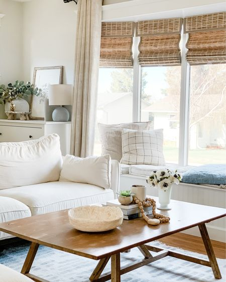 Light white and grey rug, rustic coffee table, woven blinds, bamboo shades http://liketk.it/3f0C1 #liketkit @liketoknow.it @liketoknow.it.home #LTKhome