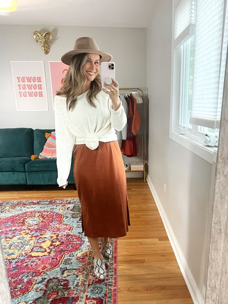 Fall outfit ideas! This would be perfect for fall family photos! This dress is a must have target find for fall! My oversized sweater is old but I linked some similar options! Also linked my hat and mules   #LTKunder50 #LTKfamily #LTKstyletip