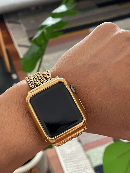 Apple Watch gold band and gold bumper purchased separately. Both links are included. #iWatchBand #AppleWatchBand #GoldAppleWatchBand