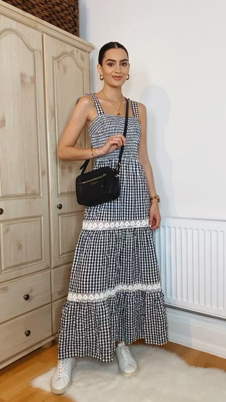 Summer dress outfits✨ Outfit 2. Gingham midaxi dress, black crossbody bag, Veja trainers  #LTKstyletip