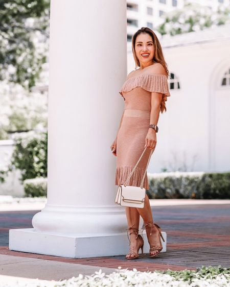 Express matching set outfit  Pink ruffle off shoulder sweater top and skirt - XS in both  Express lace up braided sandals - 6 / size down  Wedding guest dress outfit    #LTKunder100 #LTKsalealert #LTKwedding