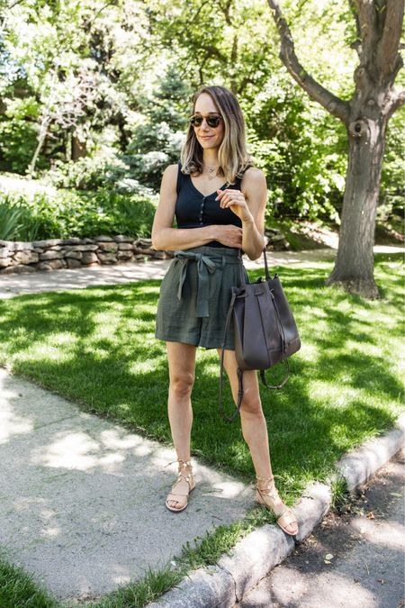 Henley tank, paper bag shorts, star sandals and a vegan leather bucket bag for an outing with my boys!   #LTKitbag #LTKshoecrush #LTKunder50