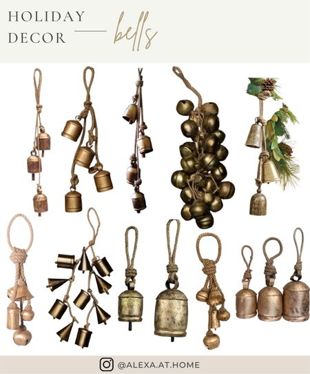 Holiday decor - bells   Holiday bells, holiday bell decor, gold bells, gold Christmas bells, vintage holiday, iron cow bells, iron bells, gold hanging bells, brass bells, hanging bells