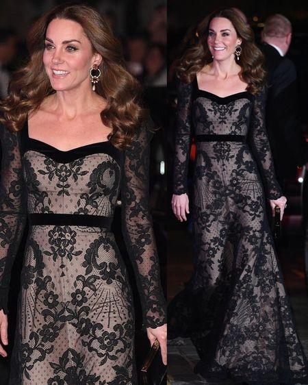 Duchess of Cambridge in custom Alexander McQueen black lace gown + Erdem Floral Hoop Earrings + Jimmt Choo 100 Velvet Pumps (custom) + Jimmy Choo Celeste Bag #evening #dress http://liketk.it/2H3C4 @liketoknow.it #liketkit