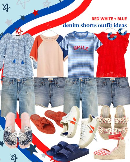Denim shorts outfit ideas - red white and blue outfit ideas for the 4th of July and beyond. Casual summer outfits with denim shorts. If you're interested in longer denim shorts, good news! I've found the best.     #LTKstyletip #LTKSeasonal #LTKunder50