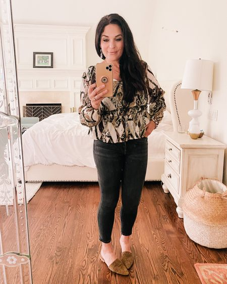 Work wear, casual Friday work outfit, jean outfit, blouse outfit, spring outfit, high waisted jean outfit   http://liketk.it/3eh4Q #liketkit @liketoknow.it #LTKworkwear