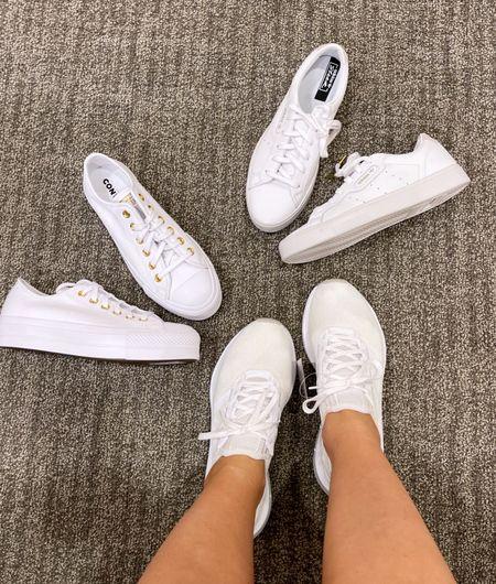 The best white sneakers on sale!  : : : : women's sneakers - white shoes - running shoes - runners - adidas - sleek leather sneaker - converse chuck taylor - converse sneakers - converse platform sneaker   #LTKshoecrush #LTKunder50 #LTKunder100