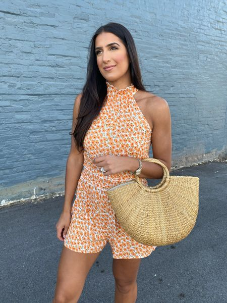 Floral romper from Amazon fashion with straw tote! Great for a summer date night ☀️  #LTKsalealert #LTKunder50