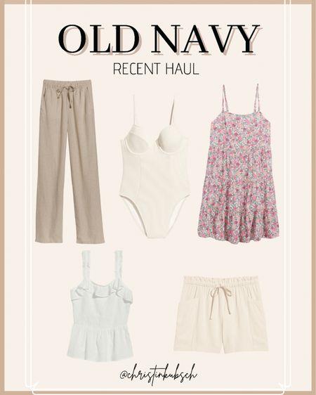 Old navy haul   Linen pants One piece white Swim suit Floral Sun dress  White tank Linen shorts   http://liketk.it/3fWST #liketkit @liketoknow.it #LTKunder50 #LTKsalealert #LTKswim