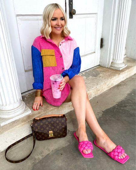 Color block shirtdress with pink braided slides! Wearing the XS + bump friendly :)  http://liketk.it/39Kyp @liketoknow.it #liketkit #LTKbump #LTKunder50