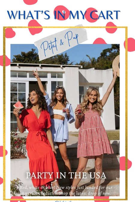 What's in my cart // Petal & Pup // July 4th outfits // summer outfits // independent day outfit // red white a s blue// gingham dress // red dress // party outfit // USA outfit   #LTKstyletip #LTKSeasonal #LTKunder100
