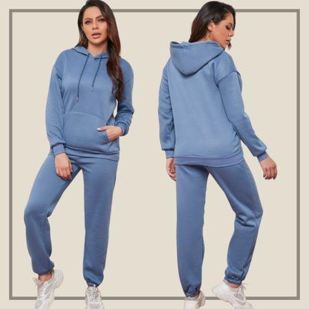 Drawstring hoodie and jogger sweatpants matching set  #LTKstyletip #LTKunder50