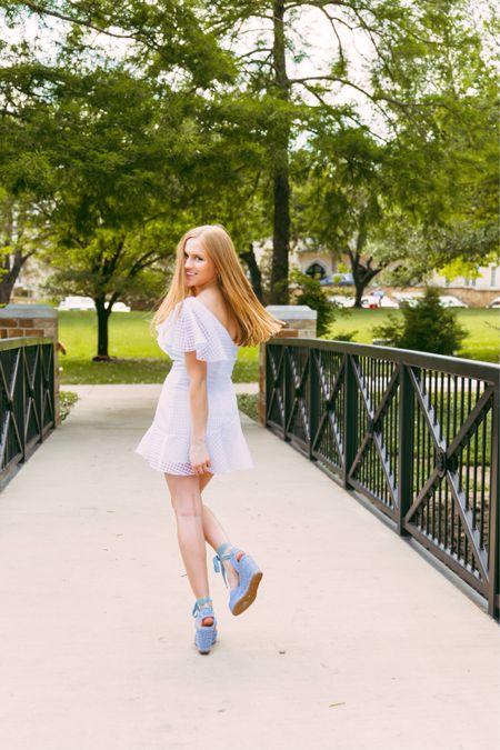 A dreamy white dress and powder blue espadrilles! The best combo!  http://liketk.it/3hLxA #liketkit @liketoknow.it #LTKSummer #stuartweitzman #summeroutfit