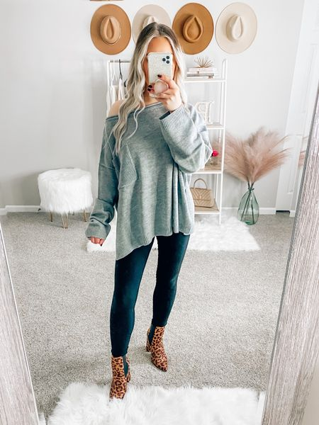 ✨BLONDEBELLE✨ to save! Wearing a size small!  . . . Grey sweater, off the shoulder sweater, fall, fall outfit, fall sweater, sweater, casual sweater, pink lily boutique, oversized sweater   #LTKstyletip #LTKunder50 #LTKSeasonal