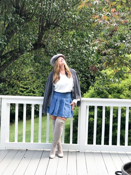 An unexpected look for a denim skirt… pleats ( cheerleading come to mind)  it is on major Sale and could not resist adding my otk boots and wool cap. . . . . . . #LTKSale  #LTKSeasonal #LTKHoliday
