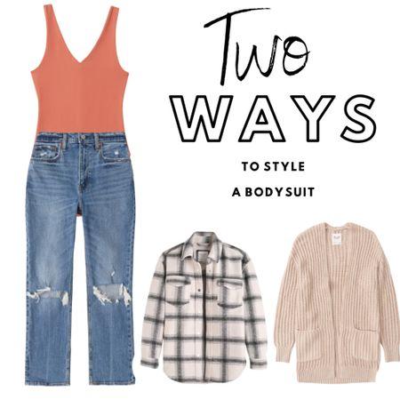 Two ways to style a bodysuit. Save 25% off during the LTK Sale!  Jeans : Denim : Shacket: Fall Outfit     #LTKsalealert #LTKSale #LTKstyletip