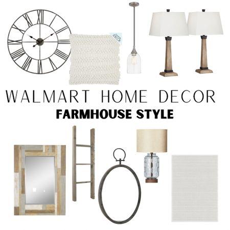 Walmart home decor Farmhouse home decor, wall clock, mirror, Lamp, rug http://liketk.it/3jCTX #liketkit @liketoknow.it #LTKhome #LTKsalealert #LTKunder50