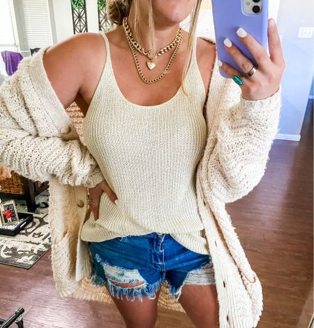 Amazon vacation outfit, vacation outfits, vacation style, affordable vacation outfits, amazon travel outfit, amazon beach outfits, knit top, knit cami, beige knit tank top, cable knit sweater, summer outfit, spring outfit   #LTKunder50 #LTKtravel #LTKstyletip