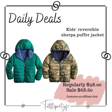 Kids' reversible Sherpa puffer jacket     #LTKSeasonal #LTKkids #LTKsalealert