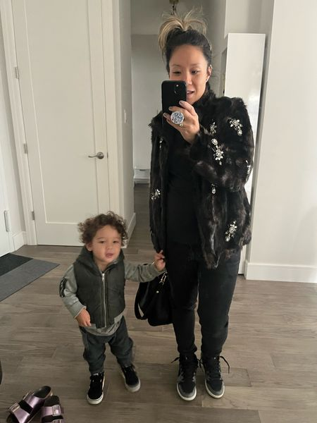 It's time to break out the faux fur jackets. NYC's chilly mornings mean a glammed up mom at the playground. I throw my faux fur jacket on over just about everything. Wearing super old Air Jordans and skinny jeans with this jacket. Mom outfit. Fall outfit.   #LTKkids #LTKworkwear #LTKshoecrush