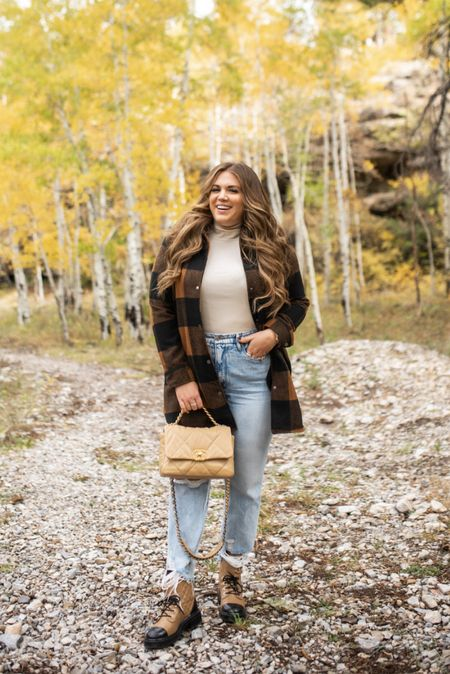 curvy fall outfit! wearing a size xl in tank, size large in plaid shacket, and size 15 in denim    #LTKitbag #LTKcurves #LTKSeasonal