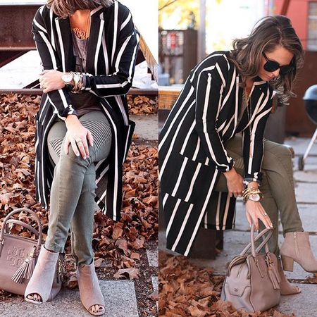 """Talking vertical stripes and how they elongate you today on the blog in this striped """"Walk the Line"""" cardigan from @jessleaboutique ?? Use code SABBYSTYLE at checkout!  @liketoknow.it www.liketk.it/22eTy #liketkit #sabbystyle #ontheblog #omahablogger #jessleaboutique #stripes #cardigan #sweaterweather #whatiwore ? @mrsbazis"""