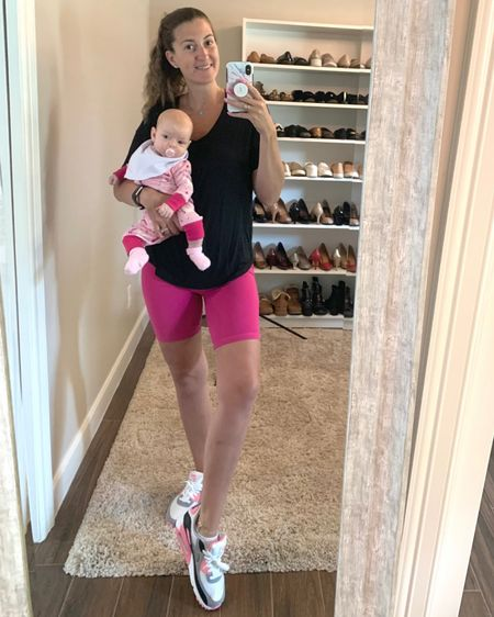Unintentional mommy + me matching. 💕 Out in one of my favorite tees with these biker shorts which I have in 4 colors so far 😍 (They're under $10!)   Oh, and if you're a sneaker gal you gotta check out these kicks. 👟👟 They're sporty yet oh so cute!   http://liketk.it/3k2LT #liketkit @liketoknow.it   #LTKbaby #LTKfit #LTKunder50