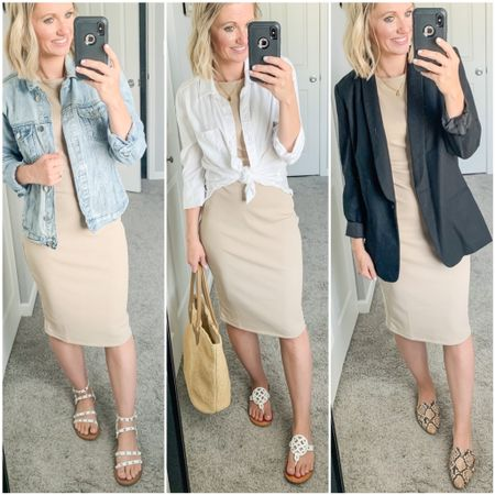 3 ways to wear a neutral midi dress from Amazon. This dress is affordable and so comfortable! It fits TTS. I'm wearing a small.   #LTKstyletip #LTKworkwear #LTKunder50