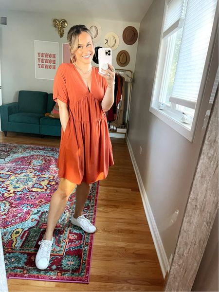 Teacher outfit idea for fall! This dress would be so cute for fall, pair with a denim jacket for a perfect fall outfit. Also linked my white sneakers and gold chains  #LTKshoecrush #LTKunder50 #LTKworkwear