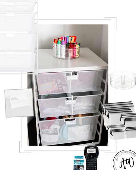 Arts & crafts organization, playroom, home school, kids room, ELFA drawers, closet organizer, The Container Store, turntable lazy Susan, zipper mesh pouches, The Home Edit inspired  #homeorganization  #LTKhome #LTKkids