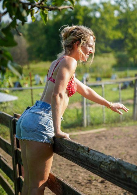 Two piece swimsuit amazon find and Abercrombie jean shorts   #LTKSeasonal #LTKcurves #LTKswim