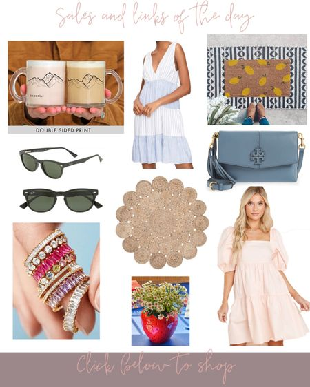 Sales & links of the day! 🤍 Cute monogrammed/personalized mug for Father's Day or just a gift, LOFT summer dress 60% off right now, lemon doormat (so cute for Summer! 🍋), Raybans discounted right now, cutest circle jute rug on sale, Tory Burch tote over 35% off, baublebar stackable rings are back in stock, prettiest strawberry vase 🍓 and cute peach summer dress! All linked below #LTKsalealert #LTKhome #LTKunder100 http://liketk.it/3h6Kk #liketkit @liketoknow.it