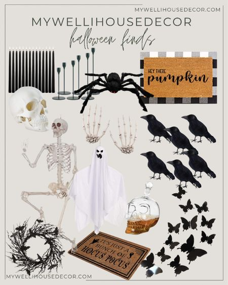 Halloween decor for the home or office! Adding my favorite seasonal home decor. Have fun decorating with these skeletons, black butterflies, bats and front door mats.   #LTKsalealert #LTKSale #LTKhome