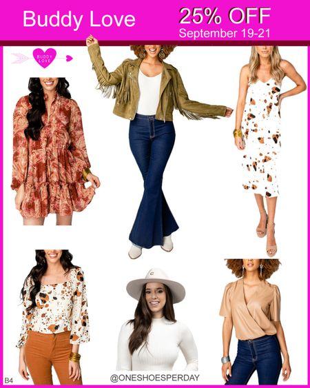 BUDDY LOVE 25% OFF  September 19-21         http://liketk.it/3nNZx @liketoknow.it #liketkit #LTKbacktoschool #LTKSeasonal #LTKshoecrush #LTKsalealert #LTKunder50 #LTKworkwear #LTKunder100 #LTKSale #LTKFall #LTKGifts   Travel Outfits   Teacher Outfits   Back to School   Casual Business   Fall Outfits   Fall Fashion   Pumpkins  Pumpkin   Booties   Boots   Bodysuits   Halloween   Shackets   Plaid Shirts   Plaid Jackets   Activewear   White Sneakers   Sweater Dress   Sweater Vests    Cardigans   Sweaters   Faux Leather  