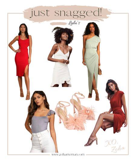 Lulus summer dress; cutout midi dress; one shoulder dress; white dress; summer top; feather high heel sandals   #LTKstyletip #LTKSeasonal #LTKshoecrush