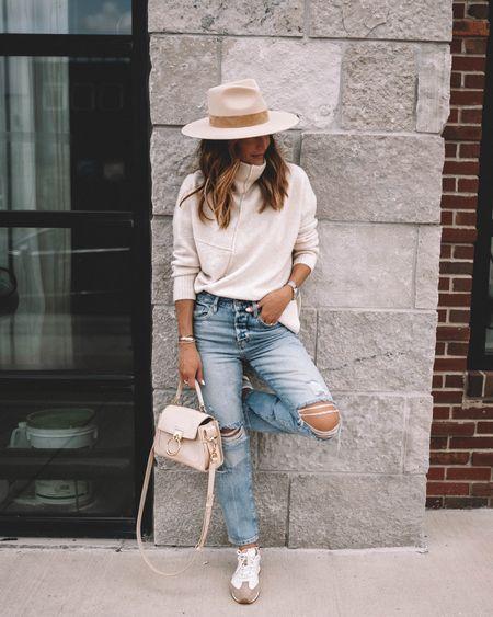 Fall sweater restocked - wearing xs - asymmetrical hem, jeans fits tts, slouchy straight fit. Chloe Tess mini in sweet beige. Neutral sneakers - fall fashion, fall outfits   #LTKshoecrush #LTKSeasonal