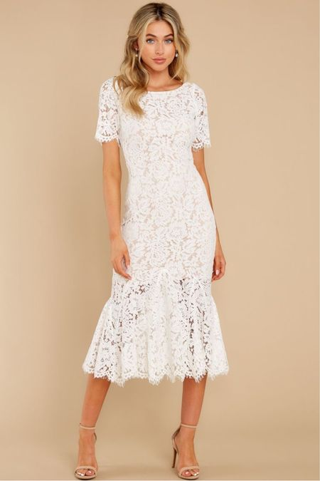 White dress option #1 love this white dress perfect for a bridal shower, rehearsal dinner, a summer wedding. The lace detail iis absolutely beautiful   #LTKunder50 #LTKSeasonal #LTKunder100