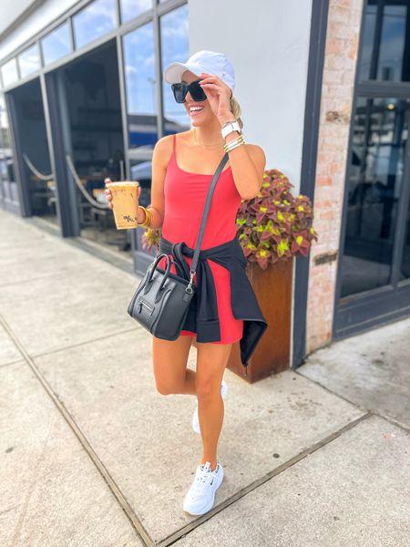 Abercrombie Travel Dress     * size XS (TTS)  LuLulemon Define Jacket     * wearing size 4 (tts) Electric Picks Necklaces (code TAKE20) Nike animal print sneakers     * TTS, but if between, size 1/2 up  Amazon Celine Dupe Sunnies    #LTKfit #LTKunder100 #LTKstyletip