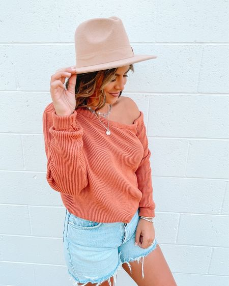 Love this off the shoulder sweatshirt from revolve. The color is gorgeous and these longer AGolde Parker shorts are so good. #ltkseasonal  #LTKstyletip #LTKunder50 #LTKunder100