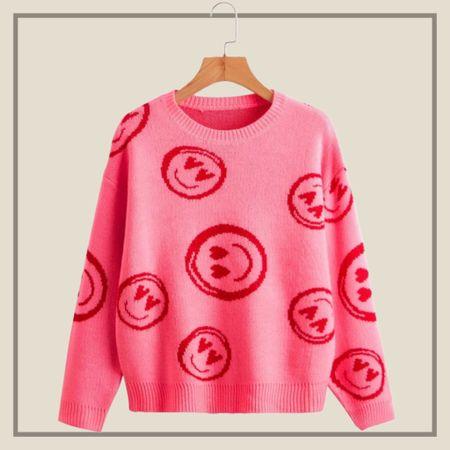 Smile pattern sweater from Shein   #LTKstyletip #LTKunder50 #LTKunder100