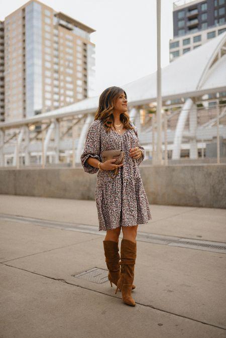 Take 15% off my dress right now! Wearing size small! It runs true to size! Boots run true to size as well! - fall fashion, fall style, dresses, fall outfits, boots  #LTKSeasonal #LTKshoecrush #LTKSale
