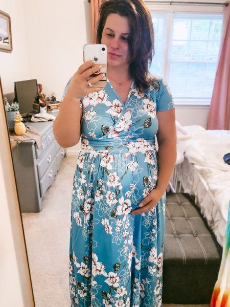 Summer maxi dress / Amazon finds  Wearing an XL in regular not maternity clothing   #LTKbump #LTKunder50 #LTKwedding