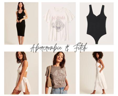 Abercrombie picks! Cover up is 25% off right now! #abercrombie #coverup #tshirt #bandtee #cutout #bodysuit #dress #mididress #cutoutdress #summerstyle #abercrombiefinds   #LTKunder50 #LTKunder100 #LTKsalealert