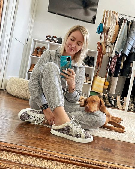 The absolute coziest jogger and sweatshirt combo. Obsessed with the soft fabric, and clearly Wilma agrees 🐶❤️   #LTKSeasonal #LTKshoecrush #LTKunder50