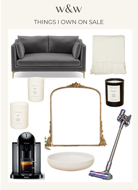 Home things I own and love now on sale for Labor Day weekend sales!  Interior Define sofa sized for apartments Jenni Kayne throw blanket Jenni Kayne candles Anthropologie mirror Dyson vacuum Nespresso coffee machine Jenni Kayne bowls  #LTKhome #LTKsalealert