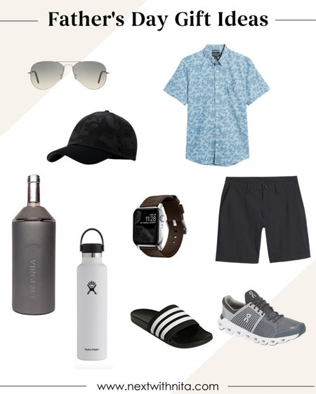 Father's Day gift ideas he'll love and use including adidas slides, hydroflask water bottle, wine cooler, floral button down shirt, sneakers, Raybans and more.   #LTKstyletip #LTKunder100 #LTKSeasonal