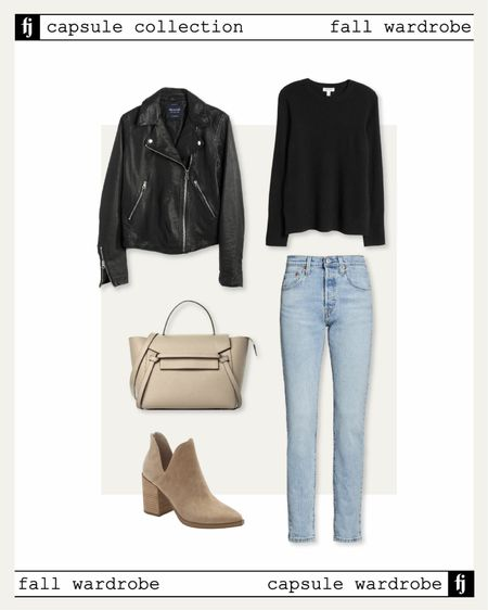 Fall capsule wardrobe! Black leather jacket fall outfit idea with jeans and booties   #LTKstyletip #LTKunder50 #LTKunder100
