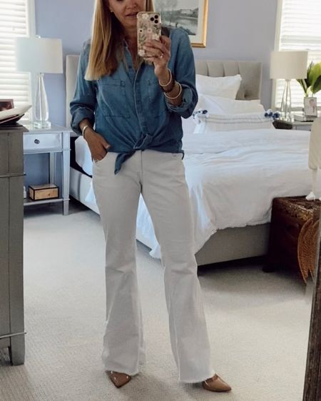 Casual chic summer look. Preppy. Chambray shirt. White jeans. Weekend day look to cocktails and dinner. Nude heels. Flared jeans. #LTKunder100 #LTKstyletip http://liketk.it/3h9DK #liketkit @liketoknow.it Shop my daily looks by following me on the LIKEtoKNOW.it shopping app.